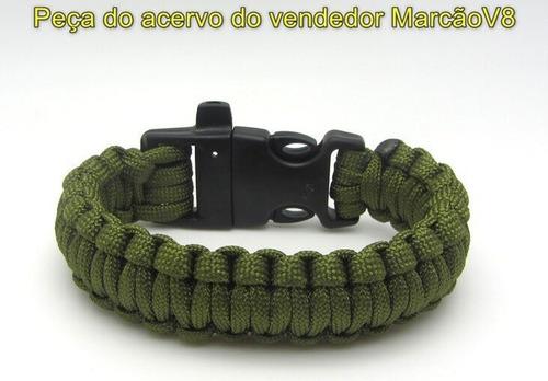 pulseira tática sobrevivência edc paracorde com apito verde
