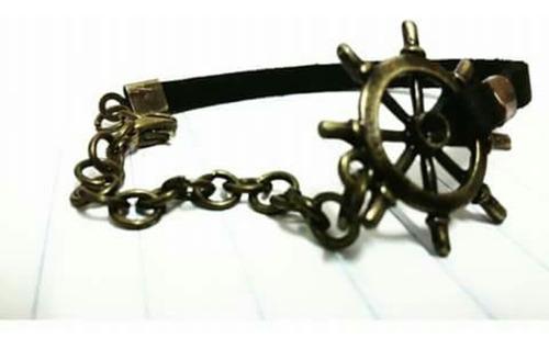 pulseira timão metade camurça/metade corrente