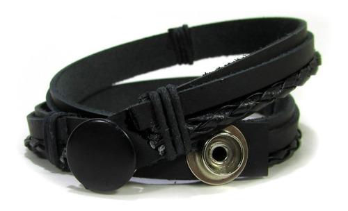 pulseira tiras de couros duas voltas com tiras trançadas