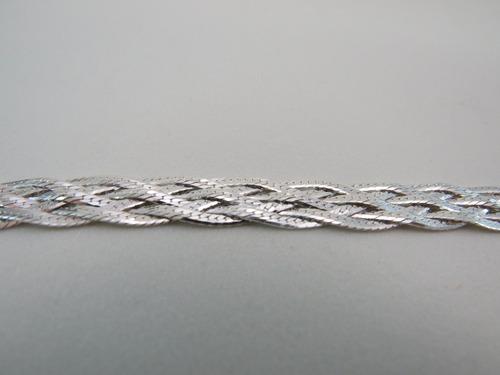 pulseira trançada 6 fios em prata 925