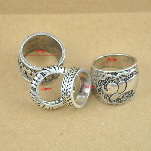 pulseira tribal + 4 anéis + tornozeleira - dourados