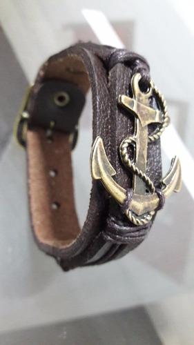 pulseira unisex couro legítimo âncora