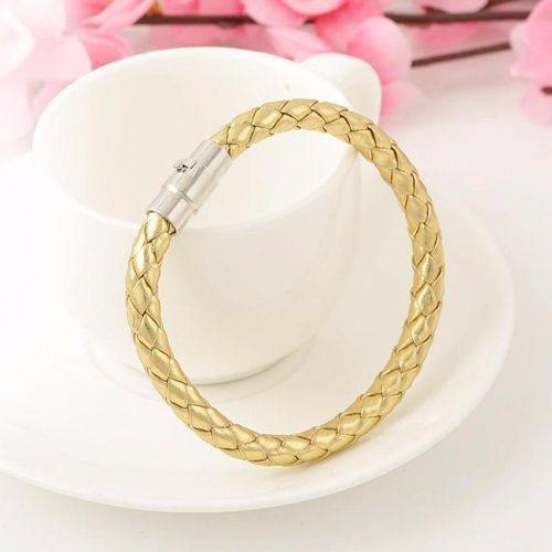pulseira unisex de couro dourada trançada fecho imã j2765