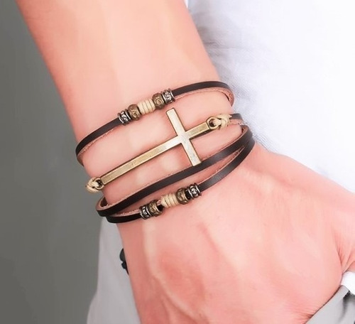 pulseira unissex 4 camadas tribal hipster couro cruz