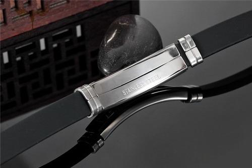 pulseira vanglore harley preta em silicone e aço inoxidável