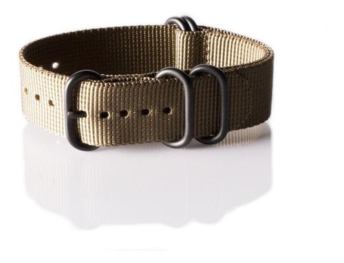 pulseira zulu nylon extra longa 24 mm cor caqui ac. pvd