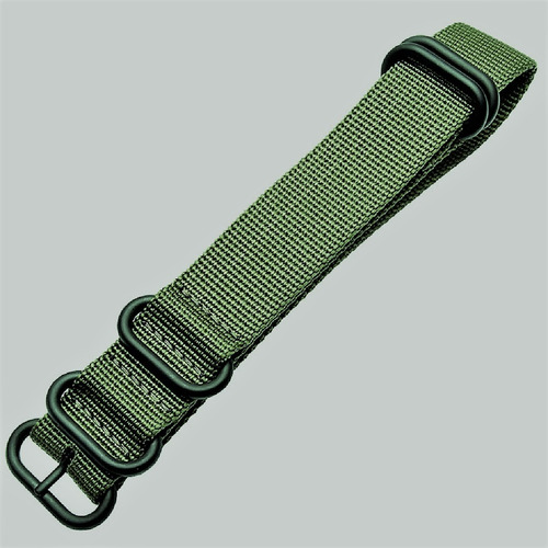 pulseira zulu nylon premium verde 18 mm pvd