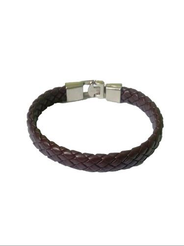 pulseira/bracelete masculino couro trançado e aço events