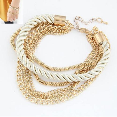 pulseiras corda trançada multicamadas banhado a ouro barato