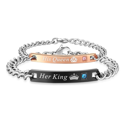 pulseiras de casal - her king & his queen - namorados amor