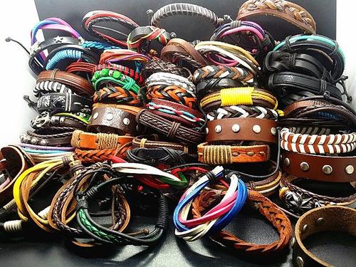 pulseiras de couro - atacado - 100 pçs