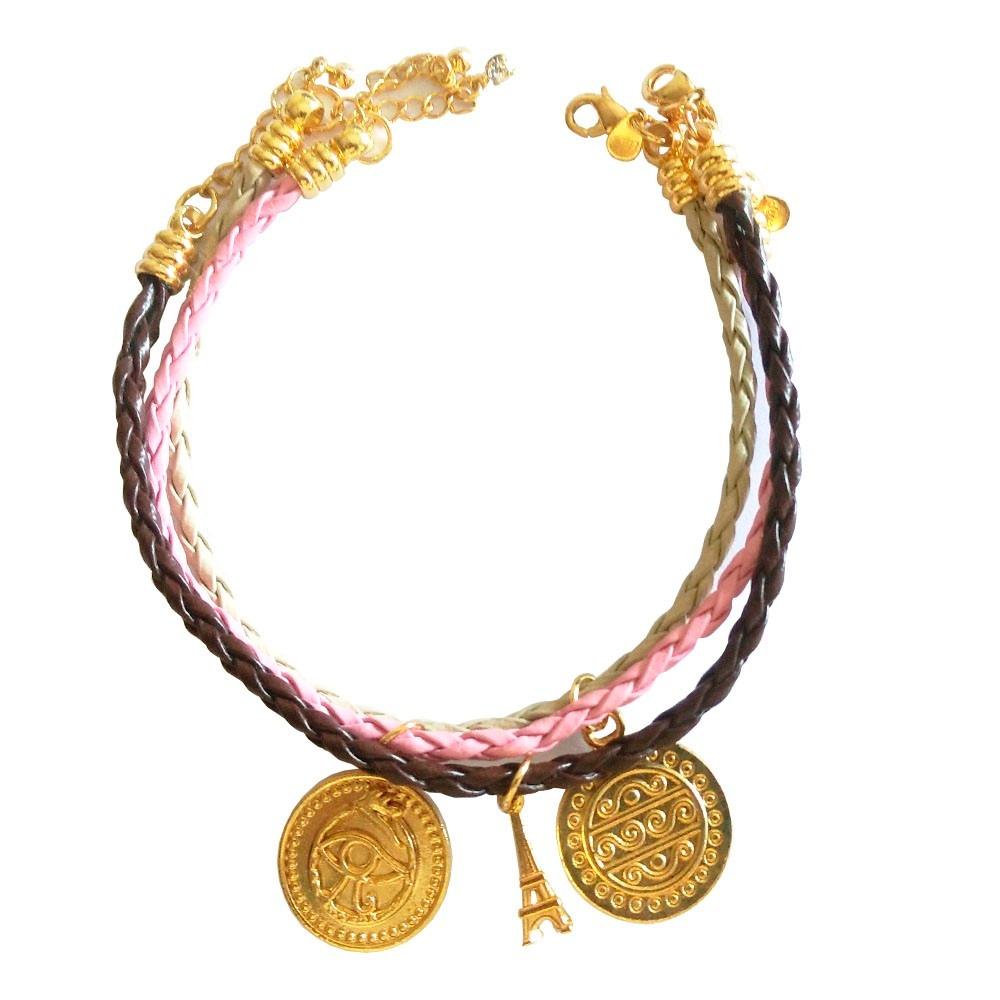 95b3df901c0 pulseiras de couro com medalhas olho infinito e torre eiffel. Carregando  zoom.