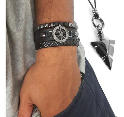 pulseiras de couro masculinas bússola kit c/ 03 + colar