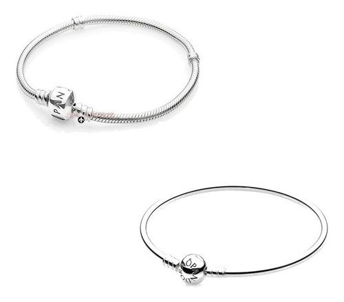 pulseiras em prata 925 maciça estilo europeu com logo