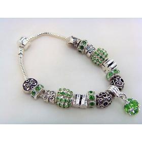 Pulseiras Estilo Pandora Com Cristais Verde Em Prata 925