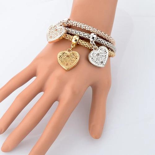pulseiras femininas banhadas com pingentes  kit com 3 peças