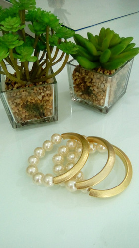 pulseiras femininas perolas banhada linda