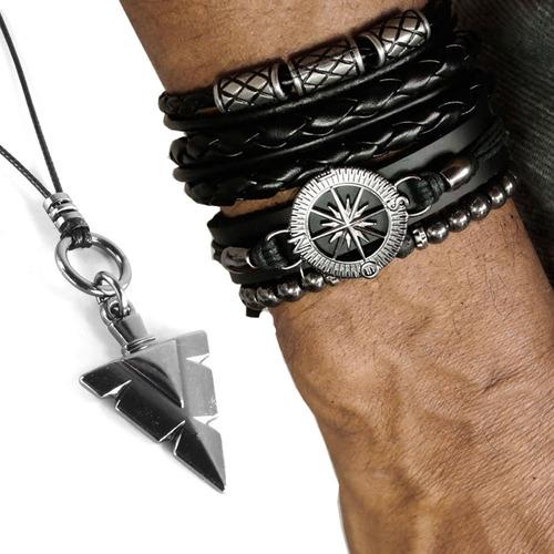 pulseiras masculina kit c/04 bussola negra + colar tribal