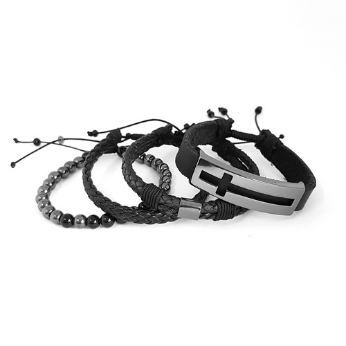pulseiras masculinas couro bussola ancora cruz black kit c/4