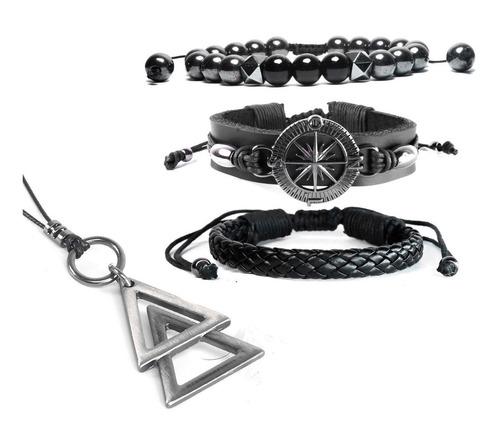 pulseiras masculinas couro bússola kit c/03 + colar