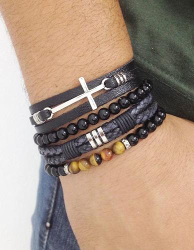 pulseiras masculinas couro couro