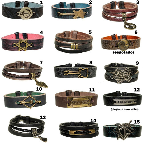 pulseiras masculinas couro legítimo kit 80