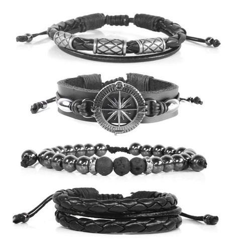 pulseiras masculinas de couro bússola negra  kit c/4