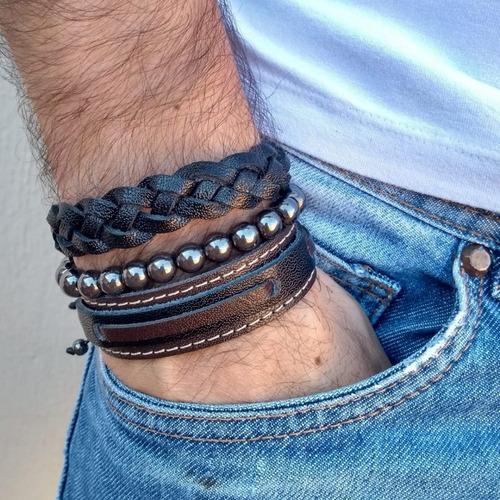 pulseiras masculinas em couro e pedras naturais