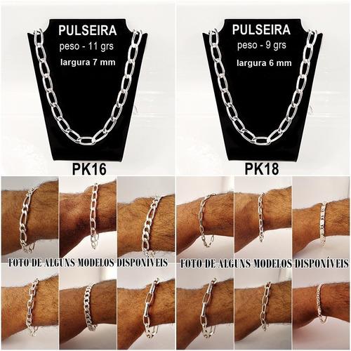 pulseiras masculinas kit 6pç folheada prata atacado semijoia