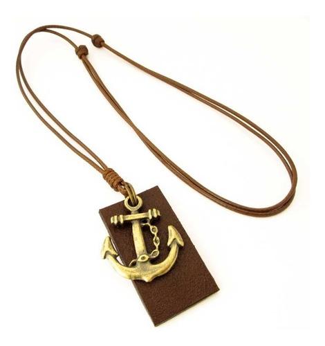 pulseiras masculinas kit c/04 bússola colar âncora marrom