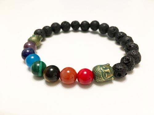 pulsera 7 chakras / acero quirurgico / piedras semipreciosas