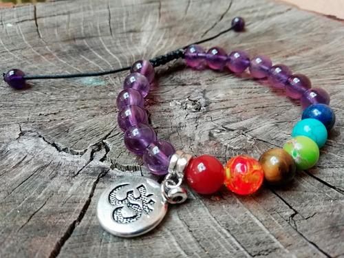 pulsera 7 chakras piedra cuarzo amatista reiki  yoga