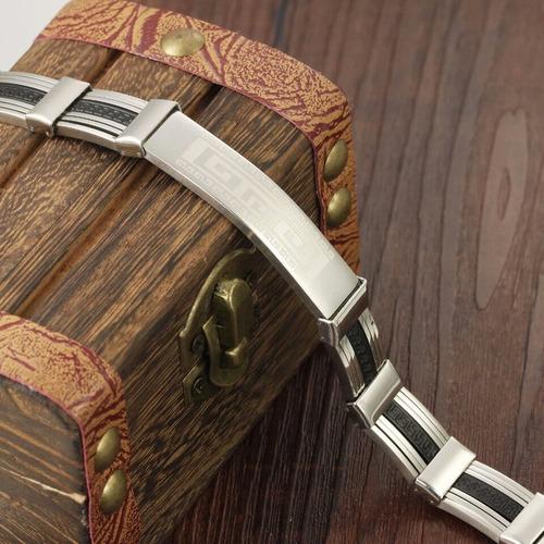 pulsera acero inoxidable con grecas romanas