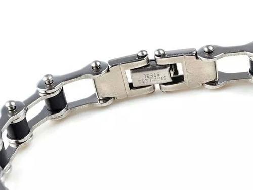 pulsera acero inoxidable con silicona negro accesorio