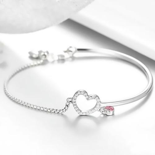 pulsera ajustable mi amor es para tí, plata 925, c r charms