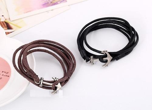pulsera ancla, cuerda color negro y cafe oferta 2x1