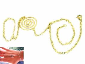 ff8d793c039a Pulsera Anillo Árabe De Acero Inox Dorado Diseño Espiral Eg