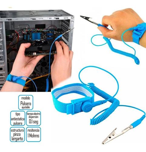 pulsera antiestática extendible con lagarto para pc laptop
