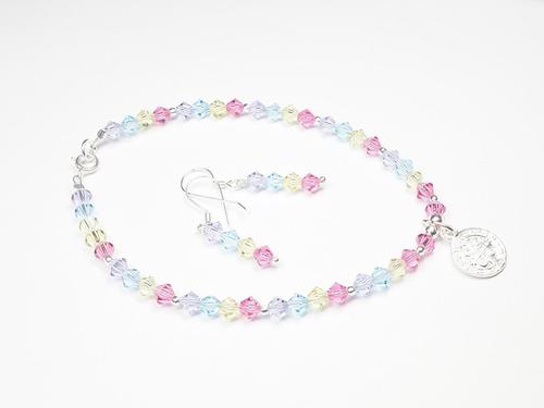 pulsera-aretes de cristales multicolor c/ dije de san benito