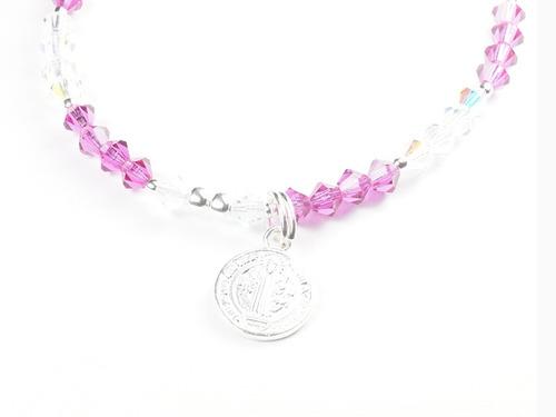 pulsera-aretes de cristales rosas  c/ dije de san benito pla