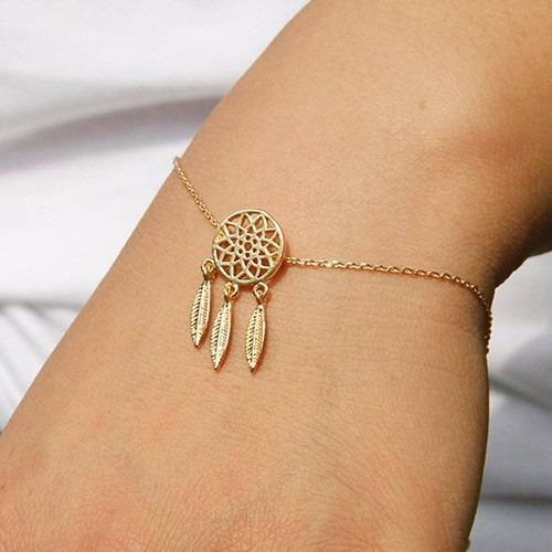 pulsera atrapasueños baño oro/plata + collar + anillo regalo