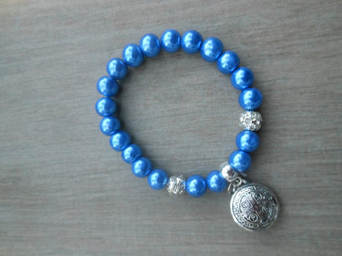 1b11a41a27c Pulsera Azul Marino Con Dije De San Benito -   40.00 en Mercado Libre