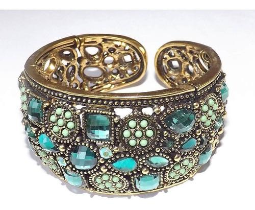 pulsera bañado en oro y cristales regalo especial