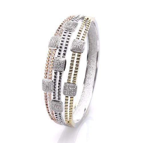 pulsera bangle acero tricolor alto pulido con cristales