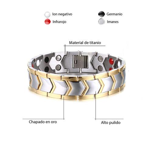 pulsera biomagnética de acero inoxidable 316l  titanio