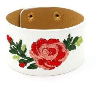 pulsera bordada flores