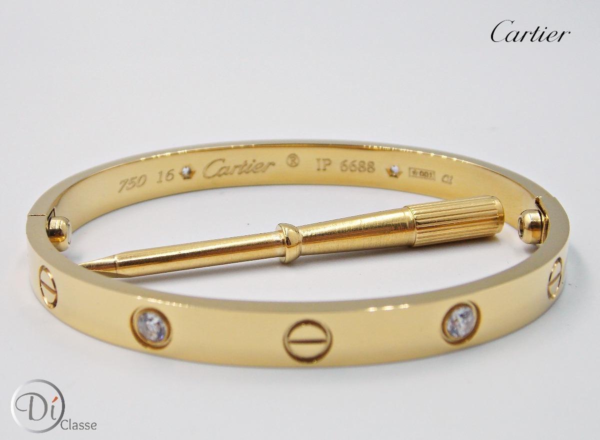 47f3430cb74 pulsera brazalete cartier love swarovski color oro king. Cargando zoom.