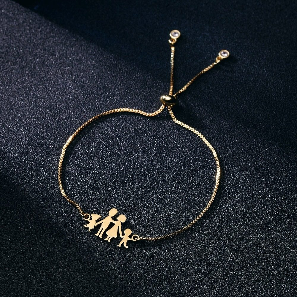 3ca28aba44ba pulsera brazalete color oro acero inoxidable familia mujer. Cargando zoom.