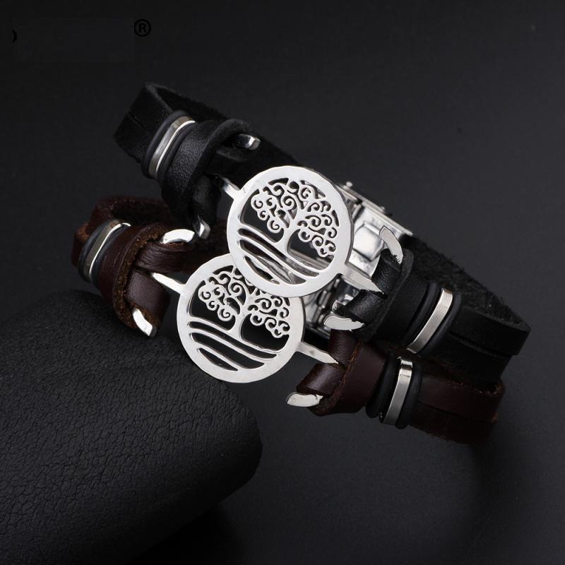 041a5946f160 pulsera brazalete cuero acero inox árbol de la vida hombre. Cargando zoom.