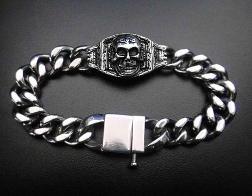 pulsera brazalete de calavera de acero inoxidable skpalace